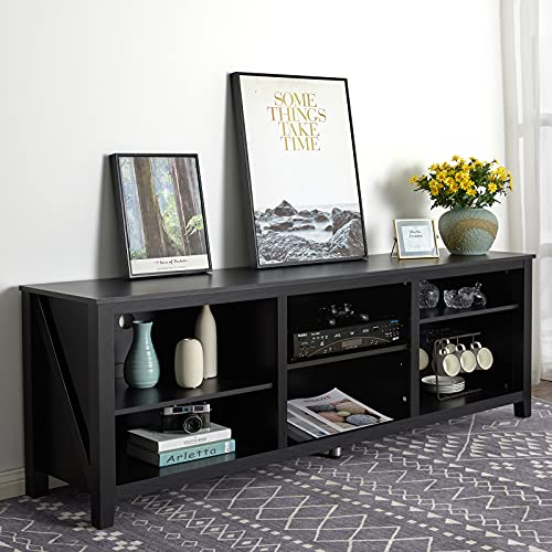 """Amerlife TV Stand Entertainment Center, Wood Texture Media Console Storage TV Cabinet with 6 Adjustable Shelves for TVs Up to 78"""", 70 inches, Black"""