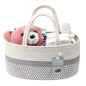 MTOUOCK Baby Diaper Caddy Organizer, Cotton Pure-Handmade Rope Nursery Storage Bin for Boys and Girls, Newborn Baby Shower Basket with 1 Inner Pocket for Changing Table or Car (White and Gray)