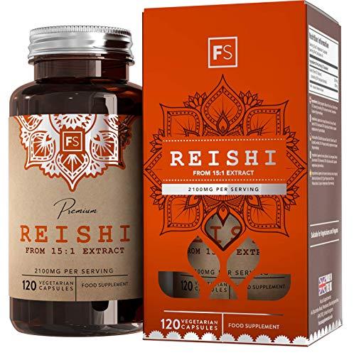 FS Reishi Extrakt Kapseln   Nahrungsergänzungsmittel für Vitalität & Wohlbefinden   Hochdosiert 2100mg pro Portion 15:1 Extrakt   120 Vegane Kapseln   Hergestellt in ISO Zertifizierten Betrieben
