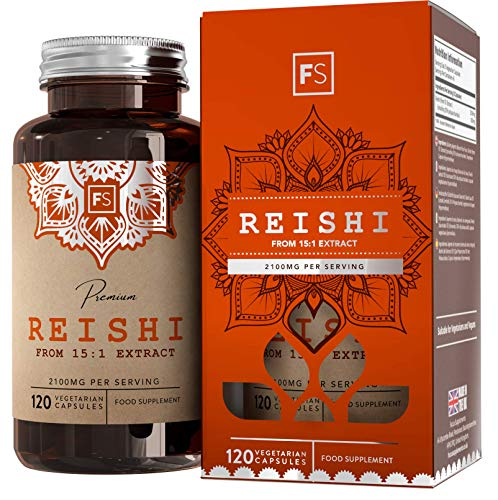 FS Reishi Mushroom Extract 15: 1 | 2100mg per Serving | 120 Vegan Capsules | Vitality & Wellbeing Nootropic Supplement | Clean Fillers | Non - GMO | Gluten, Dairy & Allergen Free
