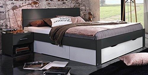 Bloominghome Bett mit 4 Schubkästen grau metallic-alpinweiß 180 x 200 cm Schubladenbett Funktionsbett