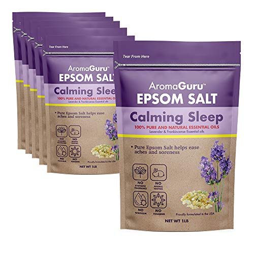 Aroma Guru Calming Sleep Epsom Salt - Enhanced with Natural Lavender & Frankincense Essential Oil - Helps in Sleep & Relaxation - Pack of 6