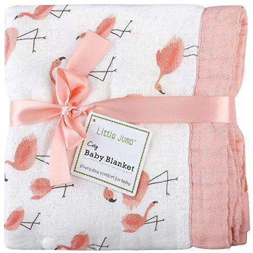 Little Jump Bambus musselin Flamingo decke, 2-lagig 120x120 cm Baby Kuscheldecke, babydecke for mädchen/Weiche Decke für Kinderwagen & Babyschale | Kinderdecke (Flamingo)
