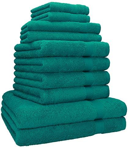 Betz Lot de 10 Serviettes Set de 2 Serviettes, draps de Bain 4 Serviettes de Toilette 2 Serviettes d'invité 2 lavettes 100% Coton Classic Color Vert émeraude