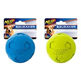 Nerf Dog Soccer Ball Dog Toy with Interactive Squeaker, Lightweight, Durable and Water Resistant, Smaller Diameter for Small/Medium/Large Breeds, Two Pack, Green and Blue