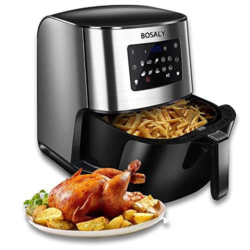 BOSALY Air Fryer, 6.3Quart Electric Hot Air Fryers Oven, 1700-Watt Oilless Cooker for Roasting, Air Frying, LED Digital Touchscreen, Nonstick Basket