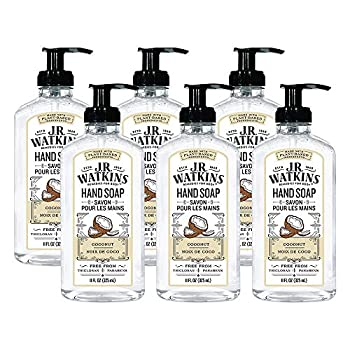 JR Watkins Gel Hand Soap Coconut 6 Pack Scented Liquid Hand Wash for Bathroom or Kitchen USA Made and Cruelty Free 11 fl oz