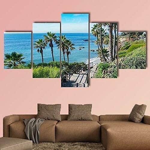 Cuadro sobre Impresión Lienzo 5 Piezas -Mural Moderno 5 Piezas,Vacaciones en Laguna Beach California Dormitorios Decoración para El Hogar -No Tejido Lienzo Impresión- Poster Mural-Listo para Colgar