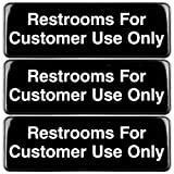 Restrooms for Customer Use Sign: Easy to Mount Informative Plastic Sign with Symbols 9'x3', Pack of 3 (Black)