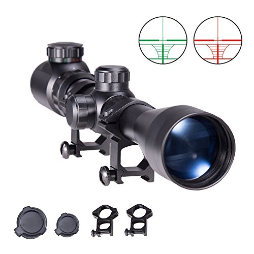 Sfeomi Tactical Rifle Scope 3-9X40 Red Green Sight Hunting Rifle Scope Mil-Dot Reticle Illuminated Tactical Spotting Rifle scope with Mount Hunting