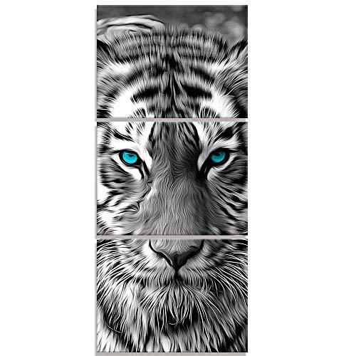 Visual Art Decor Abstrakte Tiere Gemälde Pritns Schwarz-Weißer Tiger mit blaugrünen Augen Wildlife Bild Leinwand Wandkunst für Home Office Schlafzimmer Dekoration fertig...