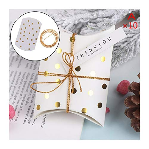 ZHHO 10pcs Pillow Shape Kraft Jewelry Candy Box Craft Paper Wedding Favor Gift Boxes Pie Party Packing (Color : A)
