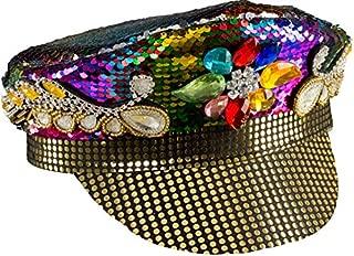 Mens Ladies Sequinned Jewelled Rainbow Biker Pride Hippie Hippy 60's Fancy Dress Costume Outfit Hat