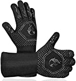 BBQ Grill Gloves Heat Resistant: High Temp Resistance Fireproof Glove for Grilling Smoking Barbecue - Washable Long Silicone Oven Mitts Extreme Hot Proof Mittens for Kitchen Cooking Baking