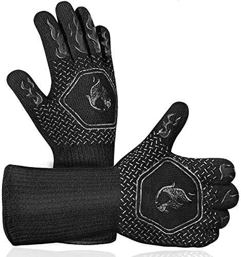BBQ Grill Gloves Heat Resistant: High Temp Resistance Fireproof Glove for Grilling Smoking Barbecue...