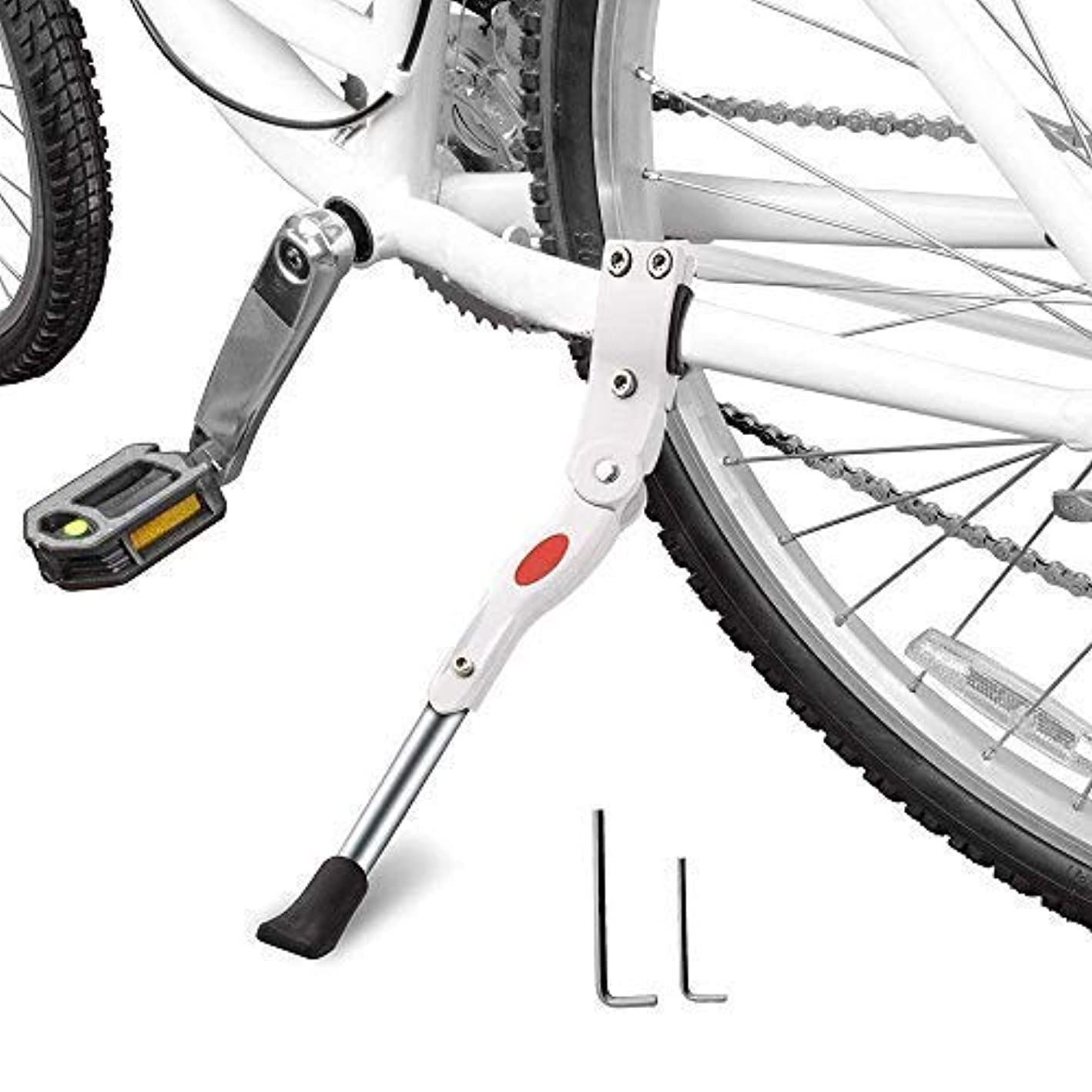 StyleZ Adjustable Bicycle Kickstand MTB Road Bicycle Parking Rack Alloy Bike Support Side Kick Stand Foot (White)