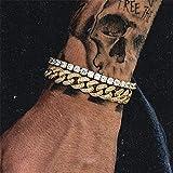 XIAOHA Bracelet Homme 1 Set Complet Strass Hommes Bracelet Pave Or Miami Cubain Lien Chaîne Bracelets pour Hommes Bijoux