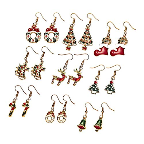 Christmas ear hook earrings Christmas decoration fashion style female gift birthday holiday atmosphere pendant jewelry (F)