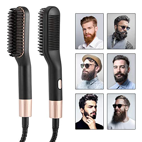 Liaboe Cepillo alisador de barba,Cepillo alisador,Plancha de Pelo Barba,Plancha barba profesional con Multifuncional Cepillo para Hombre Mujer