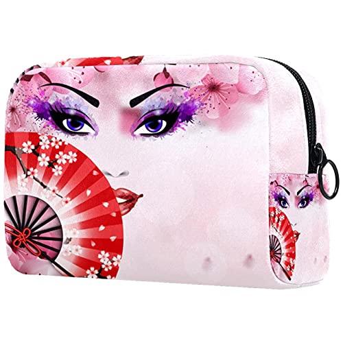 Bolsa De Maquillaje Mujer Japonesa con Abanico Neceseres para Maquillaje Bolsa para Cosméticos Portátil Y Muy Espaciosa para Mujeres Y Niñas 18.5x7.5x13cm