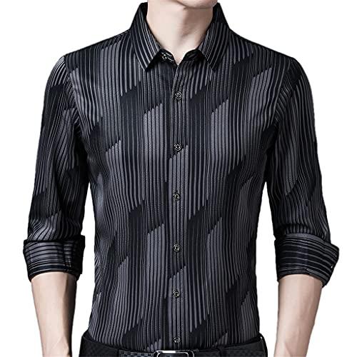 SLATIOM Camisa social de manga larga para hombres Streetwear Camisas a rayas casuales Vestido para hombre Slim...
