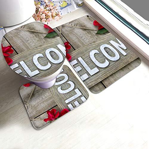 N/R hout welkom teken opknoping op houten deur met bloem rand van rode rozen U-Shaped toilet 3 stuk bad mat set badkamer tapijten tapijt matten antislip voor binnen Contour tapijt aangepast