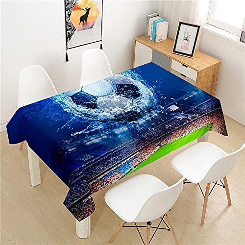 ETDSDVF Fußball-Tischdecke, Polyester, Picknicktisch, rechteckig, ideal für Küche, Esszimmer, Buffet, Dekoration, 140 x 180 cm