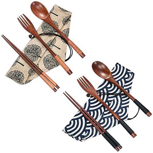cherrypop Juego de 2 cubiertos de madera cubiertos cubiertos cubiertos conjunto de utensilios de viaje atado línea reutilizable cubiertos, tenedor de madera cuchara palillos