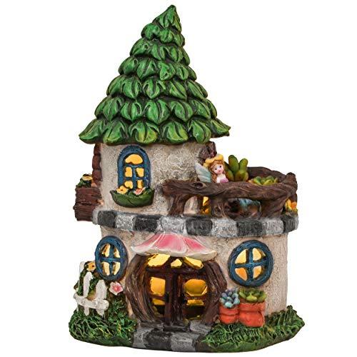 TERESA\'S COLLECTIONS Feenhaus für Garten Solar LED Gartenleuchte aus Kunstharz 22cm Wasserfest Fairy House Elfenhaus mit Miniatur Fee Figur Gartenfigur für Außen Balkon