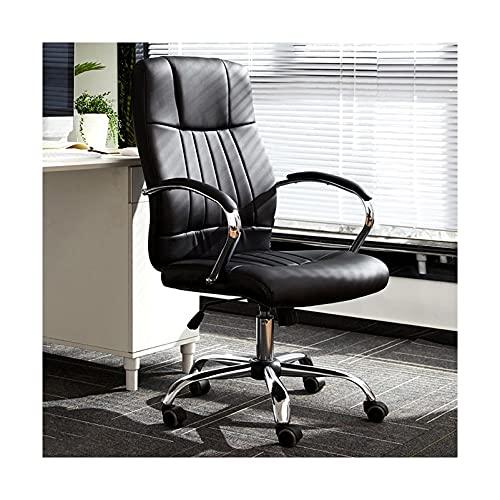 LWZ Home Office Schreibtischstuhl Drehbarer Computerstuhl, ergonomisch Verstellbarer Drehstuhl mit Armen und Rädern, Schwarz