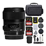 Sigma 35mm f/1.4 DG HSM Art Lens for Sony E Mount Cameras Bundle with 64GB Extreme PRO SD Card and Koah Messenger Camera Bag with Accessories (4 Items)