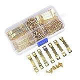 KWODE 100 Stück Bildaufhänger mit 200 Schrauben - Aufhänger für Holzrahmen, Zackenaufhänger Bilderhaken für Keilrahmen, Hängehaken für Bilderrahmen (Gold)