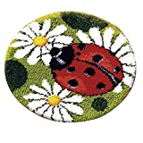 Latch Hook Kits Rug Making Crafts DIY for Kids/Adults 19' X 19' with Preprinted Pattern Ladybug