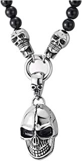 Gothic Style, Mens Women Black Onyx Beads Chain Necklace and Stainless Steel Vintage Skulls Pendant