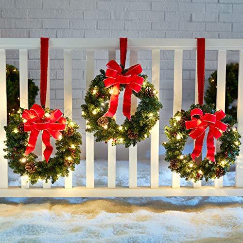 BrylaneHome Christmas Set of 3 Cordless Pre-Lit Mini Christmas Wreaths, Berries