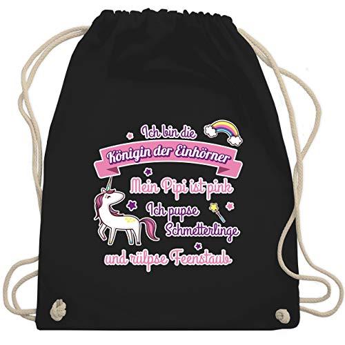 Shirtracer Einhörner - Königin der Einhörner - Unisize - Schwarz - turnbeutel einhorn - WM110 - Turnbeutel und Stoffbeutel aus Baumwolle