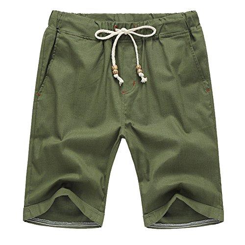 OSYARD Freizeit Shorts Bermuda Kurze Hose Herren - Baumwolle Leinen Männer Sommershorts Elastische Taille Classic Fit Kurzehose mit Tunnelzug