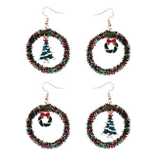 ARTIBETTER 2 pares de brincos de Natal para mulheres Boho Mini grinalda brincos de árvore de Natal, joias de Natal, Ano Novo, lembrancinhas de festa