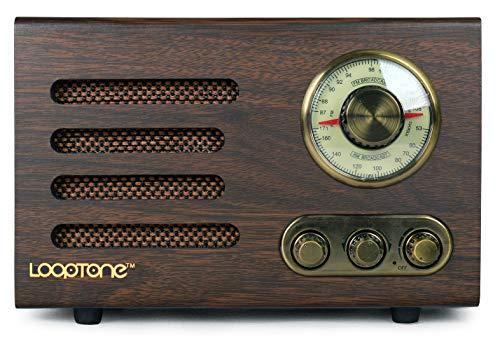 LOOPTONE Retro Wooden Bluetooth FM/AM Radio with Rotary Dial (Coffee)