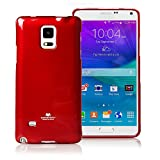 Goospery Pearl Jelly for Samsung Galaxy Note 4 Case (2014) Slim Thin Rubber Case (Red) NT4-JEL-RED