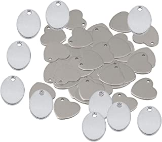 Dolity 60 pieces Silver Oval Heart Shape Blank Stamping Tags Pendants Engrave Disc Coin Accessories,DIY Jewelry Making Pen...