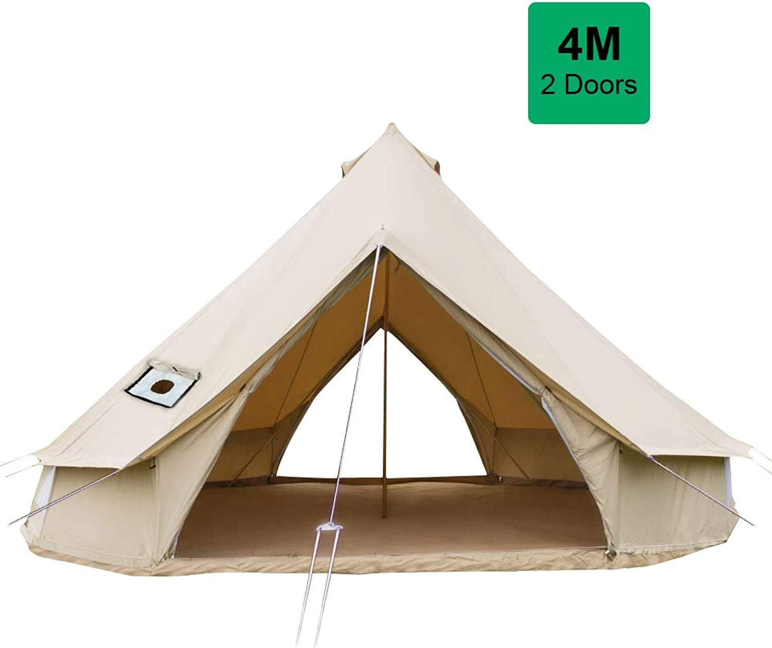 PlayDo 4M Waterproof Glamping 2 Doors Cotton Canvas Bell Tent Family Yurts Tent Wall Tent with Stove Hole for 46 Persons Camping Hunting Party