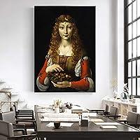CHBOEN キャンバス絵画家の装飾 さくらんぼの少女有名なキャンバスアート絵画イタリアによる複製有名なアーティストの家の壁の装飾のためのキャンバスアートプリント 60x90cm(23.6x35.5インチ)