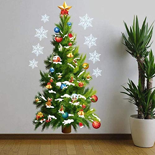 DULALA Adhesivos de Pared Murales Feliz Navidad Decoración para el hogar Vinilo Adhesivo de Pared Árbol de Navidad Estrella de Navidad Copo de Nieve Tatuajes de Pared Herramientas de Bricolaje