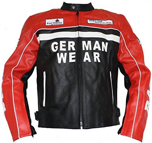 German Wear Motorrad Lederjacke Motorradjacke Rindsleder Jacke Schwarz/Rot, Größe:3XL