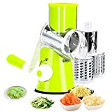 Manual Rotary Cheese Grater, 3 in 1 Shredder Slicer Grinder for Cucumber Nut Potato Carrot Cheese, Vegetable Salad Shooter Green