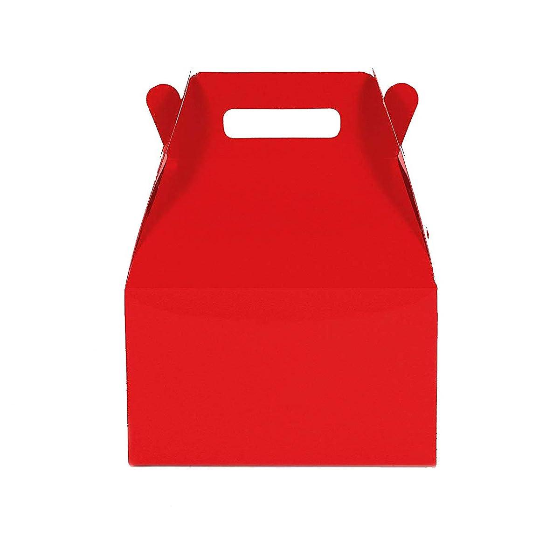 12CT (1 Dozen) Medium Biodegradable Kraft/Craft Favor Treat Gable Boxes (Medium, Red)