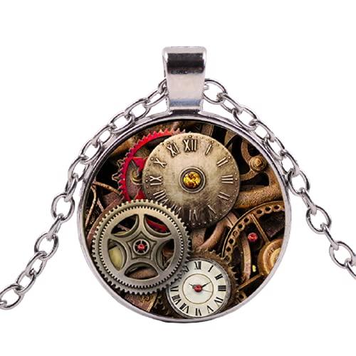 Collar largo con colgante de gema de vapor vintage punk reloj de pulsera hecho a mano con diseño de foto y hora para hombres y mujeres, joyería de 4 colores a elegir