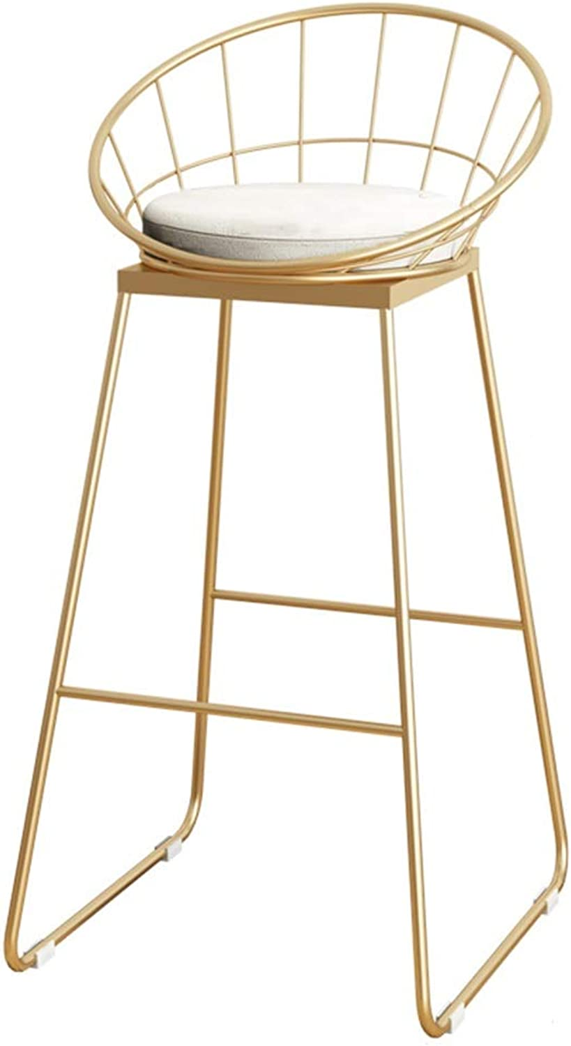 Barstools Chair Bar Stool High Stool Breakfast Chair and Cushion Seat Back Comfort Kitchen Breakfast Counter Greenhouse Bearing 150 Kg gold (Size   42x44x75cm)