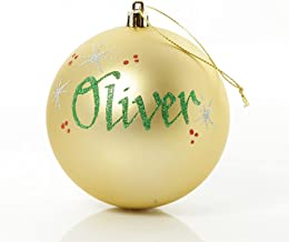 The Christmas Cart Personalised Gold Shatterproof Christmas Bauble | Customised Christmas Tree Decoration | Christmas Orna...